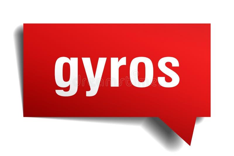 Bubbla för anförande 3d för gyroskop röd royaltyfri illustrationer