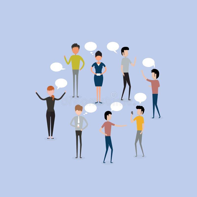 Bubbla för kommunikation för pratstund för grupp för affärsfolk vektor för folk för affärsillustrationjpg stock illustrationer