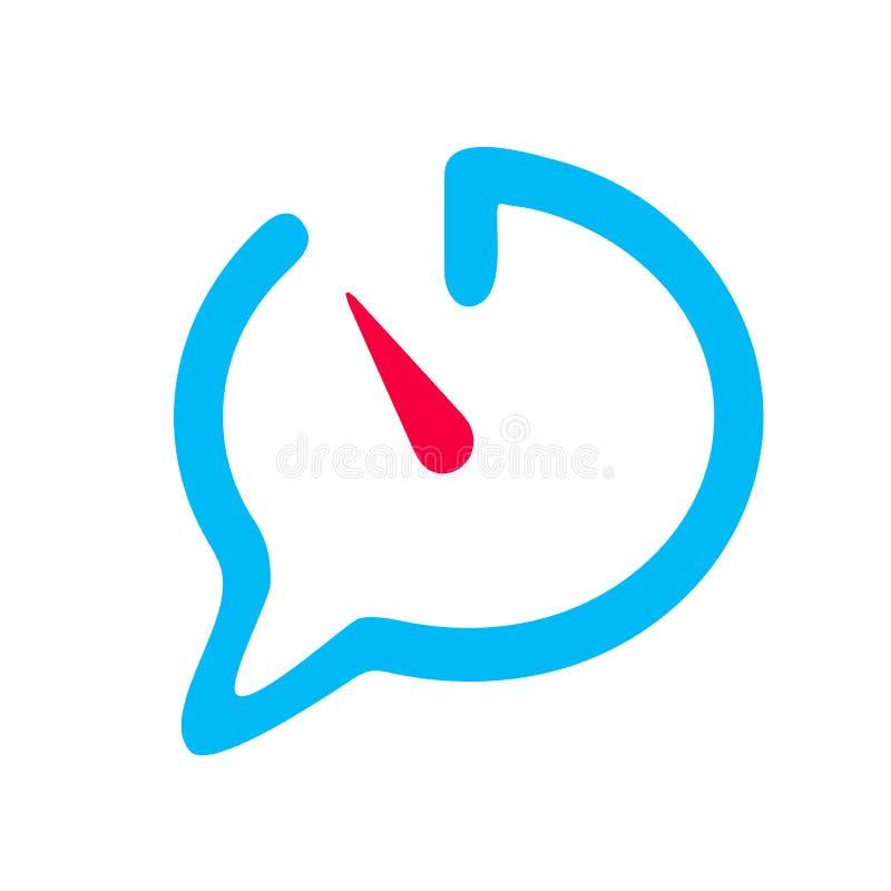 Bubbla för pratstundsymbolsanförande som påminner av för tidpratstund för tid öppen blå symbol med den röda klockan på det vita b royaltyfri illustrationer