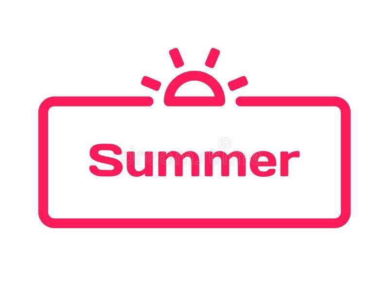 Bubbla för sommarmalldialog i plan stil på vit bakgrund Bas med solsymbolen för olikt ord av täppan vektor royaltyfri illustrationer