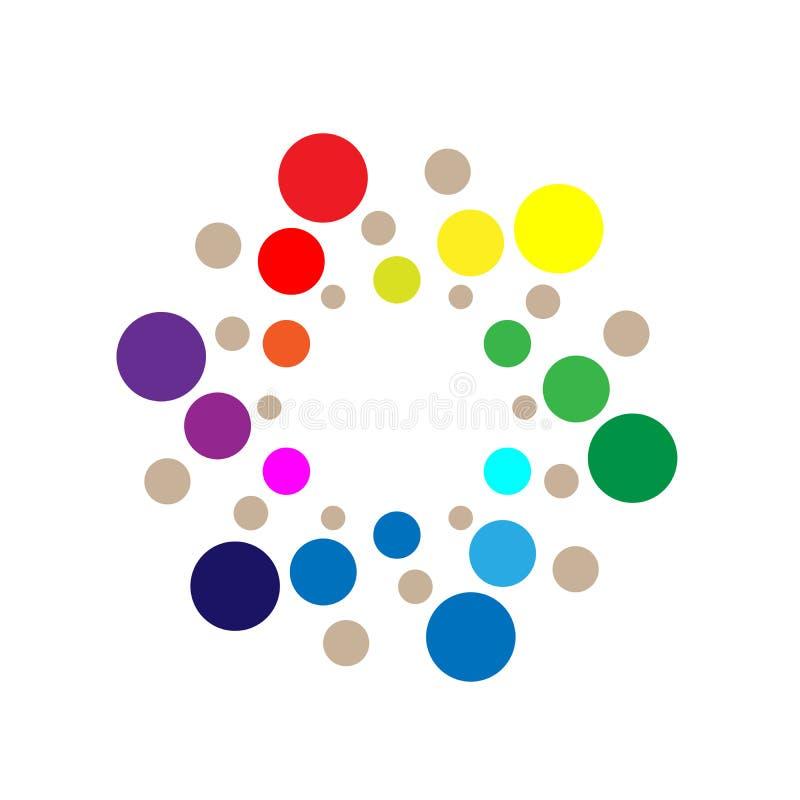 Bubbla logoen, den färgrika cirkelbakgrundslogoen för medicin, logo för droghälsovårdbegrepp på vit bakgrund stock illustrationer