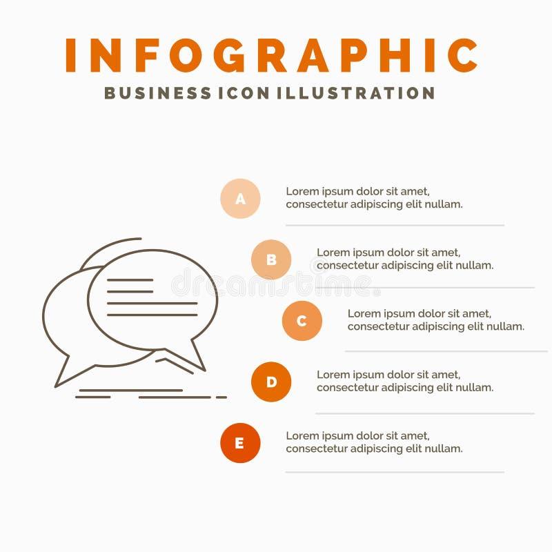 Bubbla, pratstund, kommunikation, anförande, samtalInfographics mall för Website och presentation Linje gr? symbol med apelsinen royaltyfri illustrationer