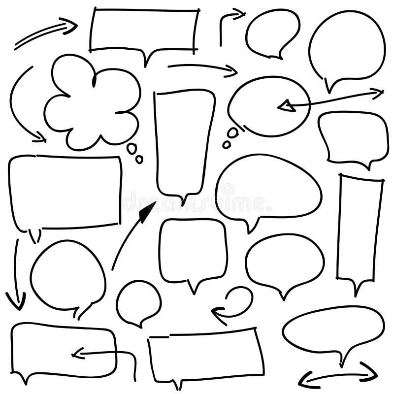 Bubblaanförande och pilar på vit royaltyfri illustrationer