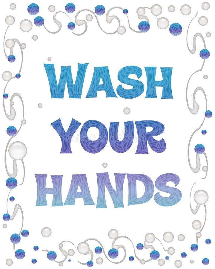 bubblahänder tvättar ditt royaltyfri illustrationer
