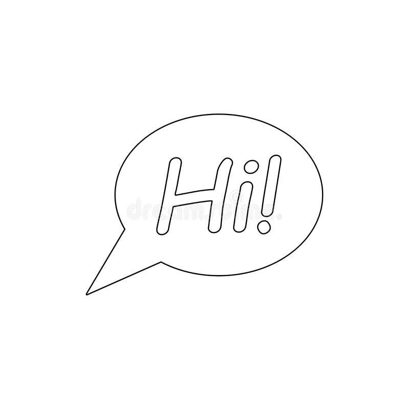 Bubblan pratar hi symbolen för översikten för meddelandeanförandesamtalet Tecknet och symboler kan anv?ndas f?r reng?ringsduken,  stock illustrationer