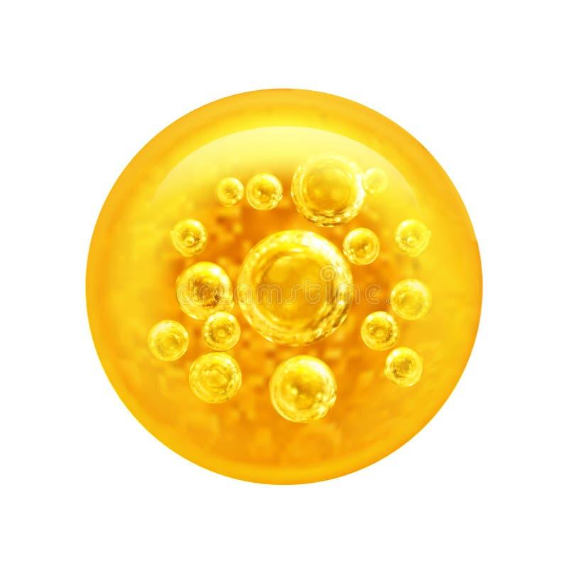 Bubblaolja inom en stor olje- bubbla också vektor för coreldrawillustration stock illustrationer