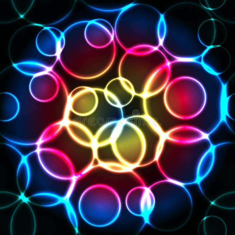 Bubblar blå röd guling för glöd den sömlösa modellen eller vektor illustrationer