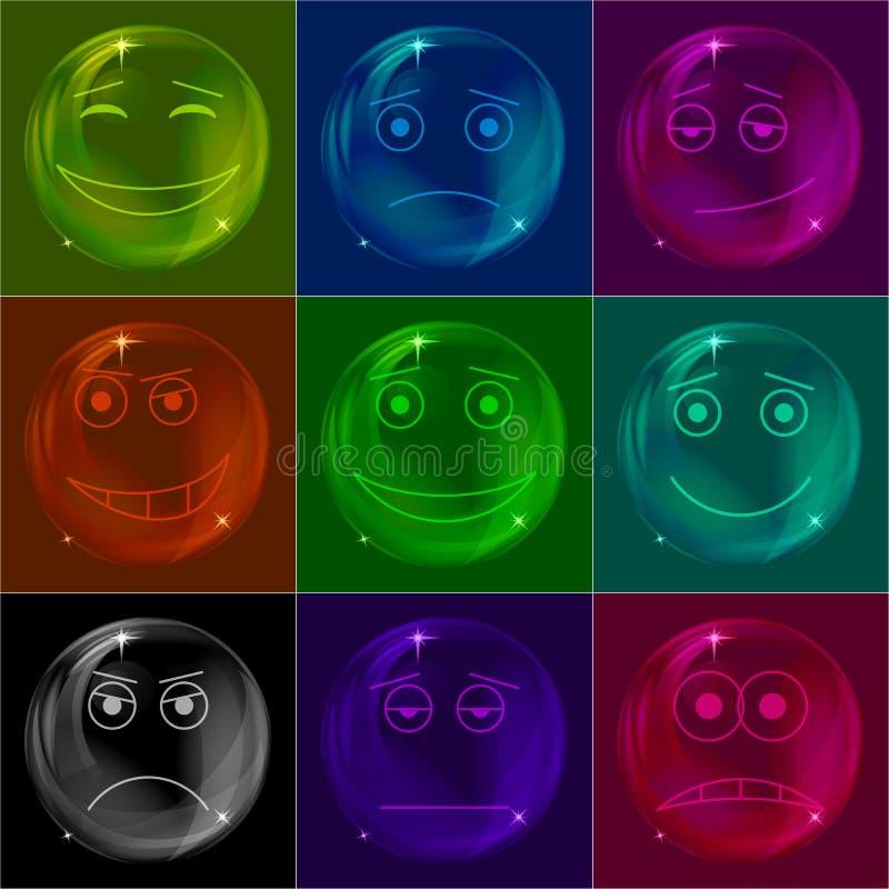 Bubblar Smileys Som är Färgrika Arkivfoto