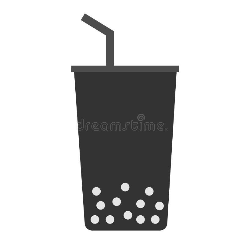 Bubblatecken pärlan mjölkar te på vit bakgrund stock illustrationer