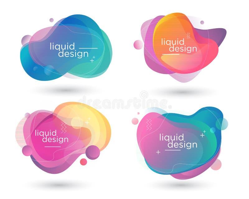 Bubblavätskefärgrikt modernt baner stock illustrationer
