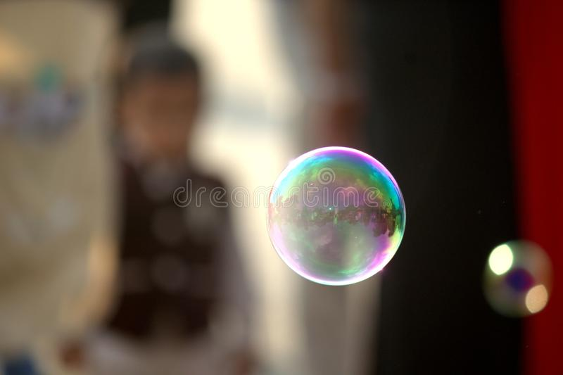 Bubble in air well focused stock image