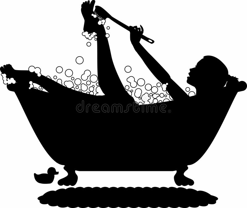 Bubble_bath_silhouette royalty-vrije illustratie