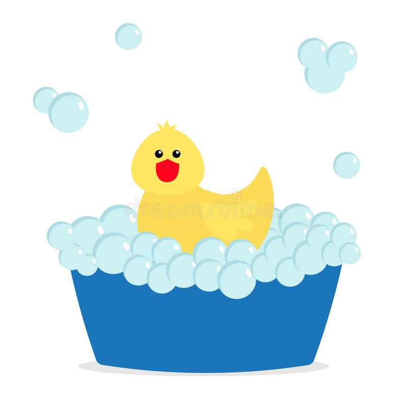 Bubble bath. Yellow rubber duck bird toy. Bathtub with soup bubbles. Cute cartoon baby character. Flat design. White background. royalty free illustration