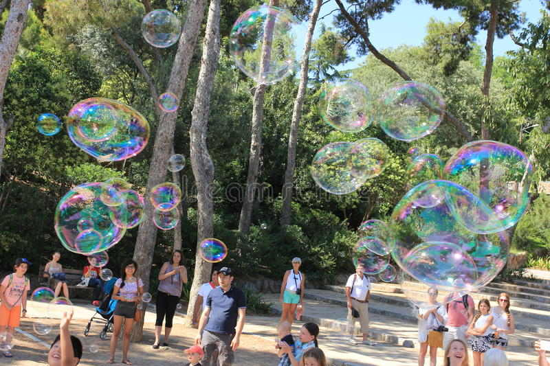 Bubble blower for children and adults in a parc royalty free stock photos