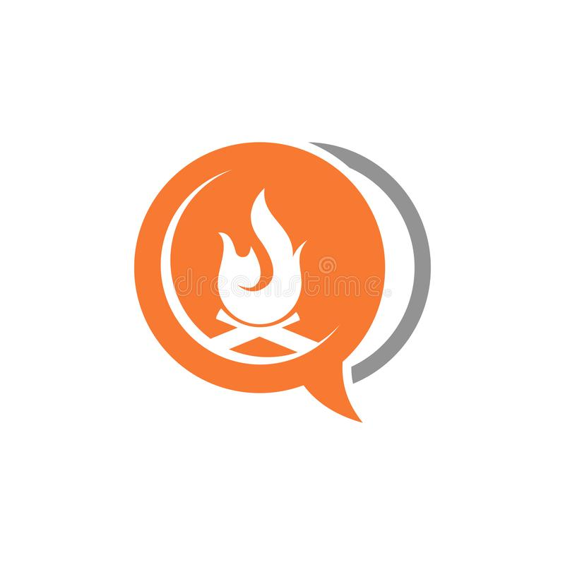 Bubble Chat Camp Fire Flame Button Adventure Consulting Symbol.  vector illustration