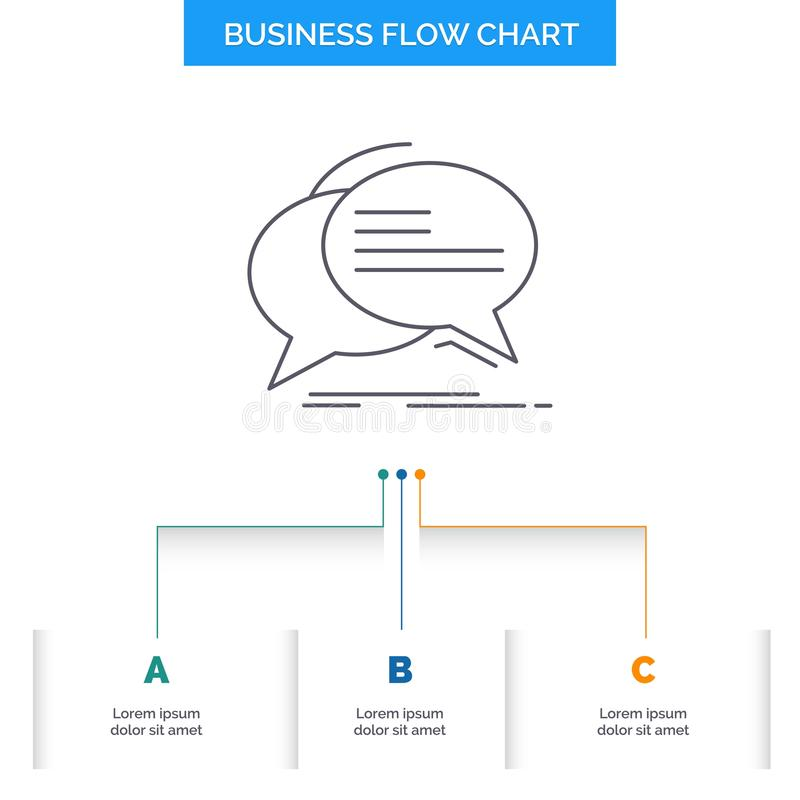 Bubble, chat, communication, speech, talk Business Flow Chart Design with 3 Steps. Line Icon For Presentation Background Template vector illustration