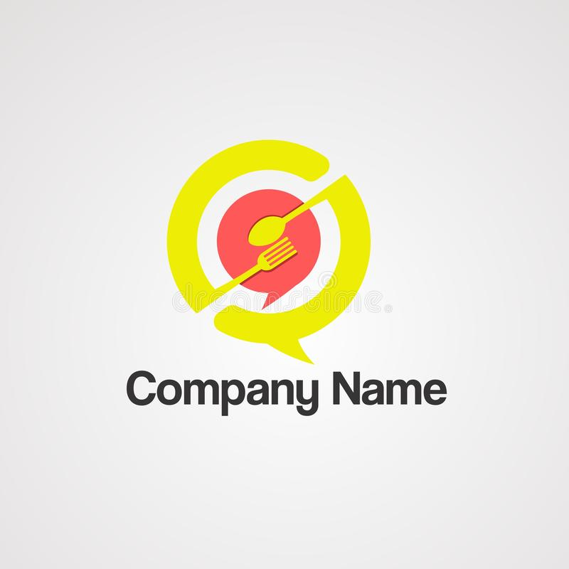 bubble chat food logo vector, icon, element, and template for company stock illustration