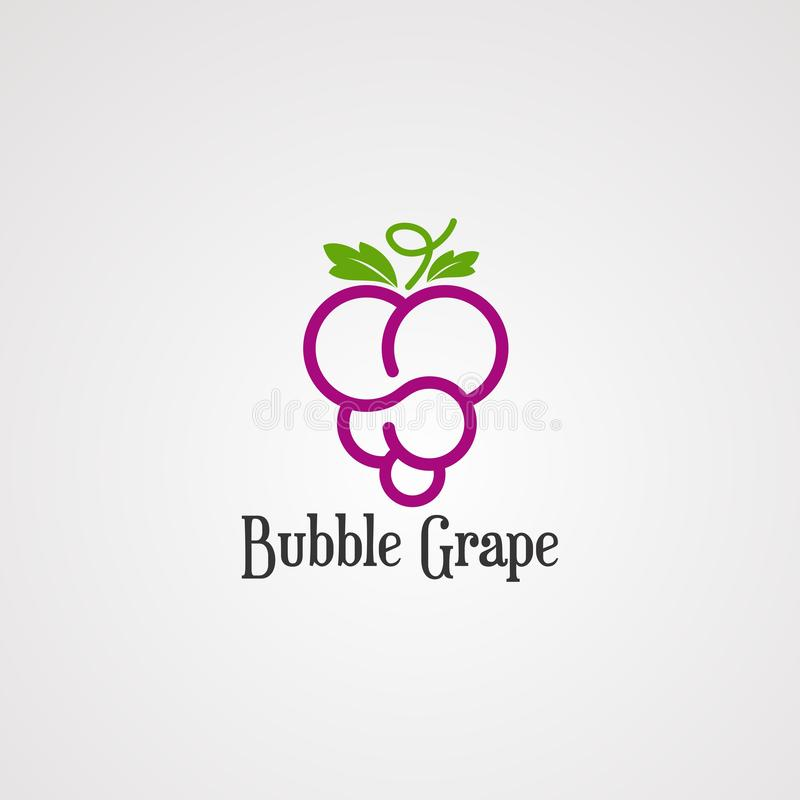 Bubble grape fruit logo vector, icon, element, and template for company royalty free illustration