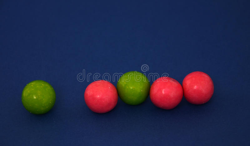 Bubble gum candies. Picture of a bubble gum candies witg strawberry and apple taste royalty free stock photos