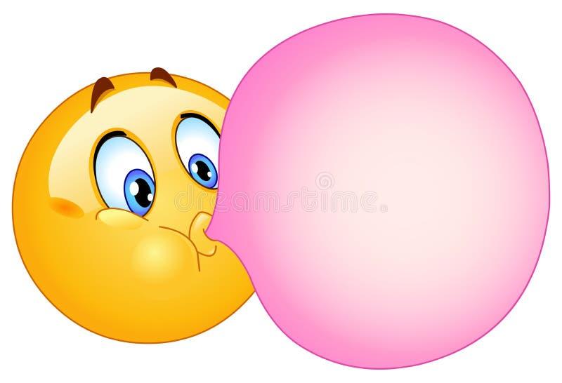 Bubble gum emoticon. Emoticon blowing a bubble gum stock illustration