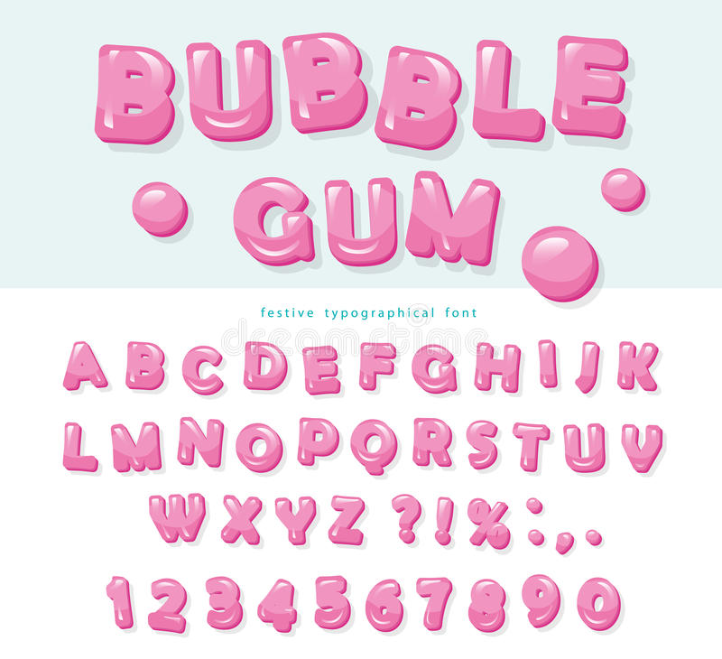 Bubble gum font design. Sweet ABC letters and numbers. Vector royalty free illustration