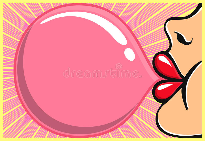 Bubble gum girl with red lipstick blowing bubblegum royalty free illustration