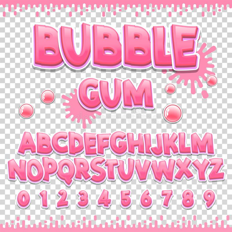 Bubble gum Latin font design. Sweet ABC letters and numbers. Cute children alphabet. For your design stock illustration