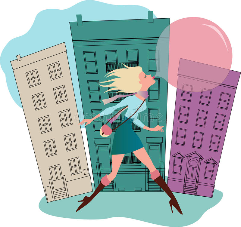Bubble gum. Young woman running down the street behind a huge gum bubble vector illustration
