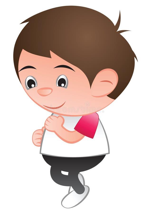 Bubble head boy cartoon jogging run isolated white background. Vector illustration vector illustration
