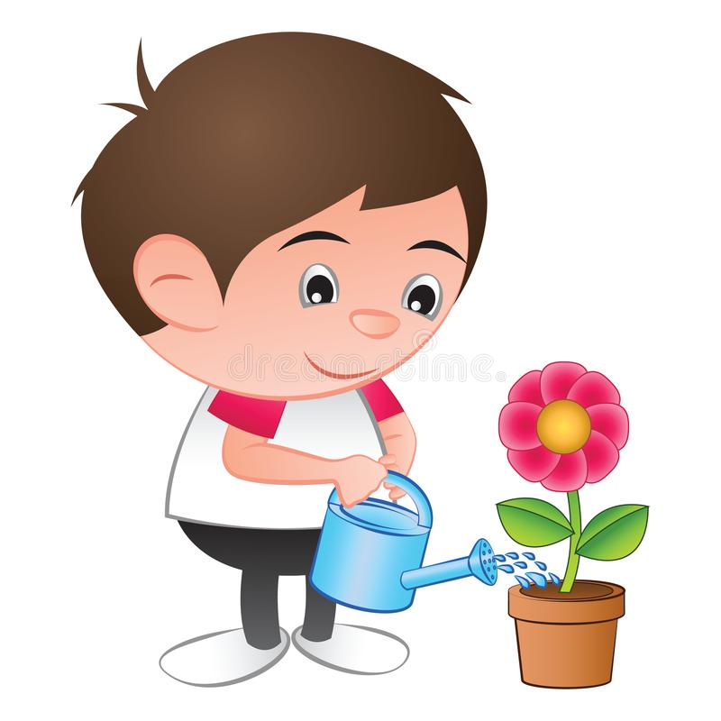 a bubble head boy cartoon water the red flower plant in the isolated white background stock illustration