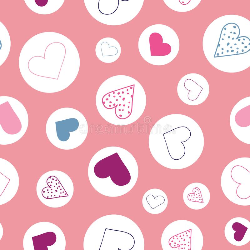 Bubble hearts, Hearts floating in bubbles, nondirectional vector repeat pattern royalty free illustration
