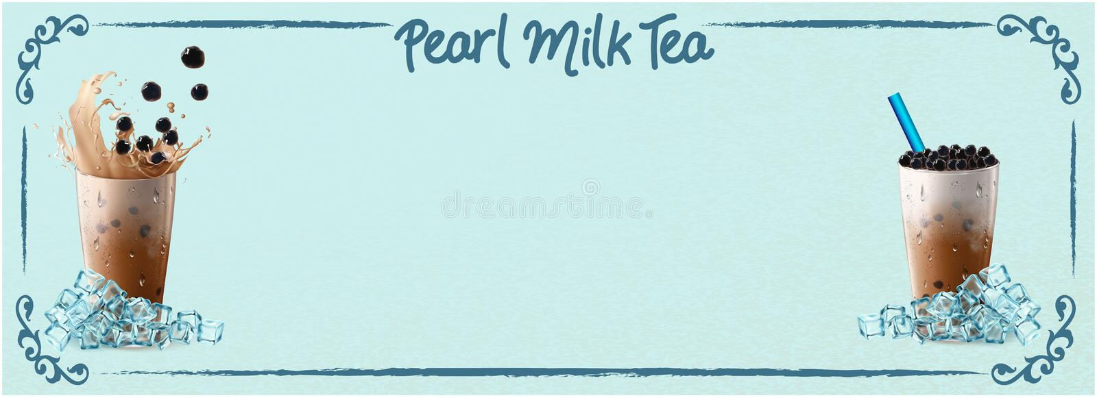 Bubble milk tea ads with delicious tapioca and pearl pouring into . 3d illustration. stock illustration