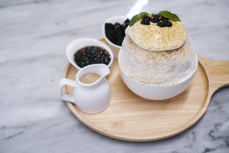 Bubble milk tea bingsu with topping. royalty free stock image