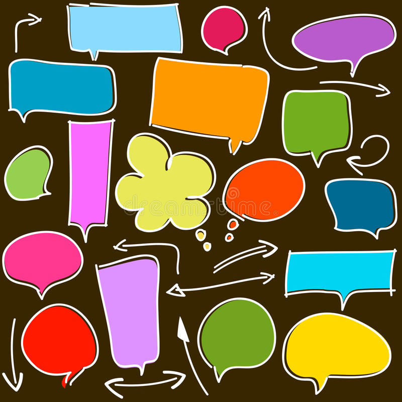 Bubble speech and arrows on white royalty free stock photography