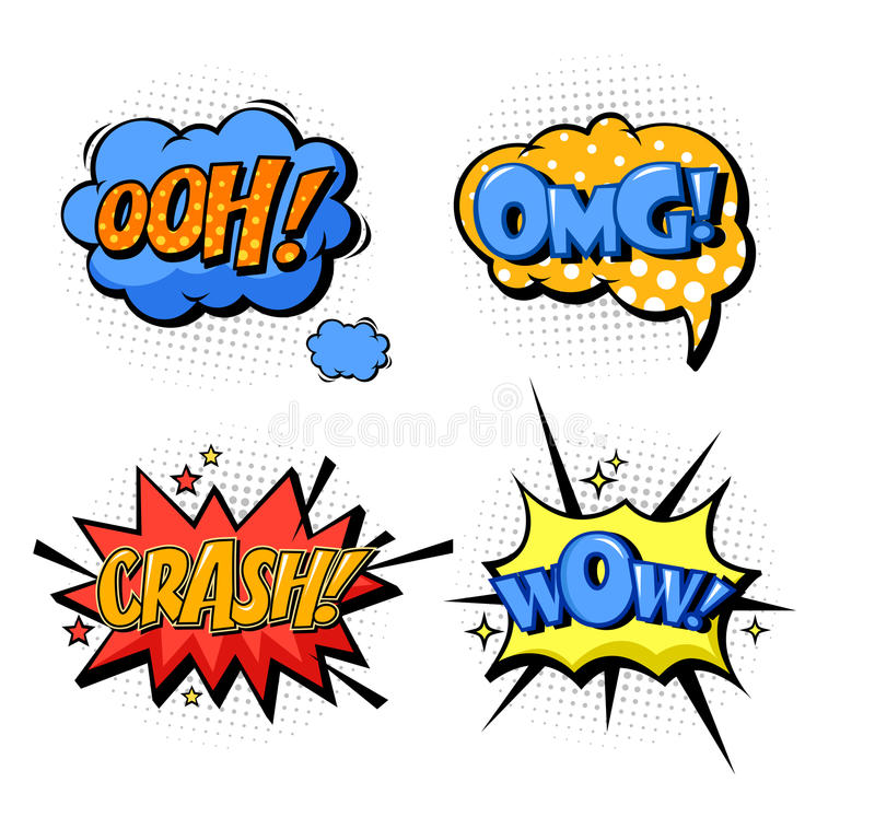 Bubble Speech For Onomatopoeia And Comic Book Stock Vector