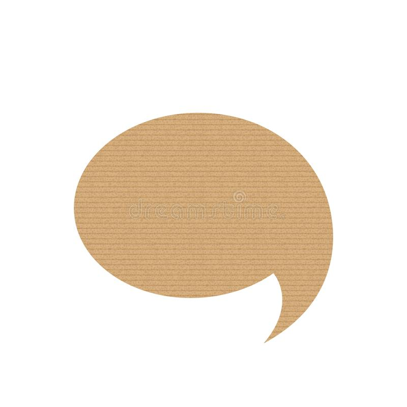 Bubble speech is in the shape of a oval. Grunge cardboard texture. Vector illustration. Online chat royalty free illustration
