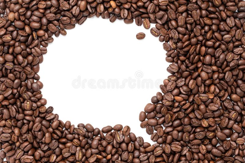 Bubble talk of coffee beans on white background.  royalty free stock photo