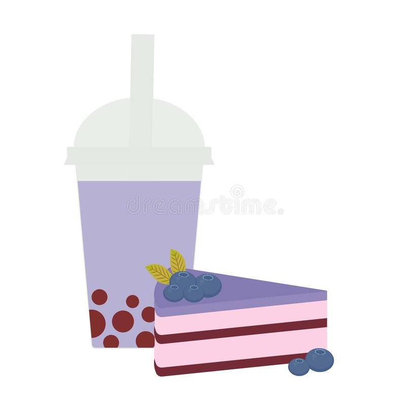 Bubble Tea with blueberry berries. Milk Cocktails in plastic cup, tubule. Sweet cake decorated with fresh blueberry, pink chocolat stock illustration