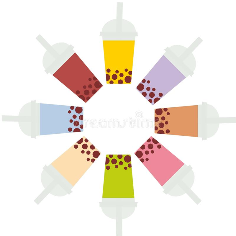 Bubble Tea with different fruits and berries. Round frame Milk Cocktails in plastic cup, tubule. Different sorts of Bubble Tea Coc. Ktails. pastel colors on vector illustration