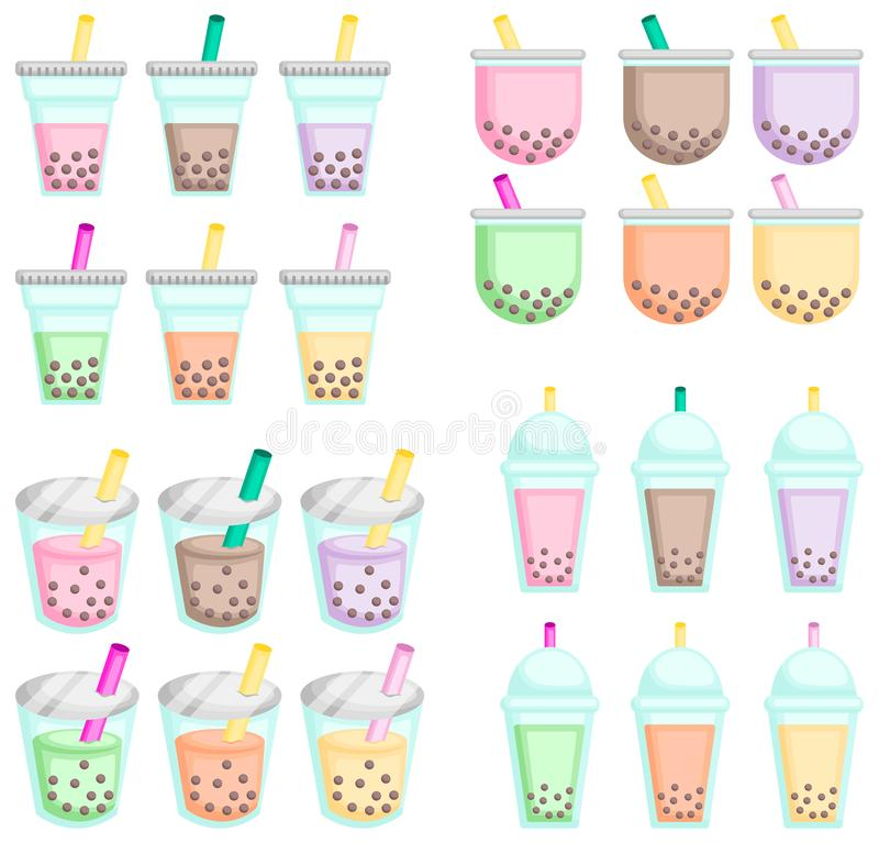 Bubble teas in many flavor. A vector of many flavor of bubble teas royalty free illustration
