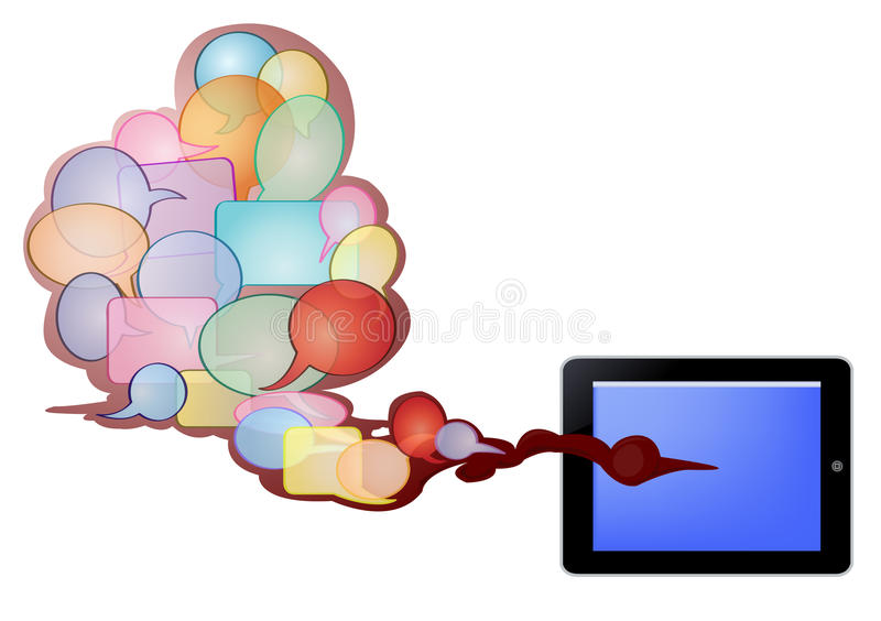Bubble text and tablet pc stock photos