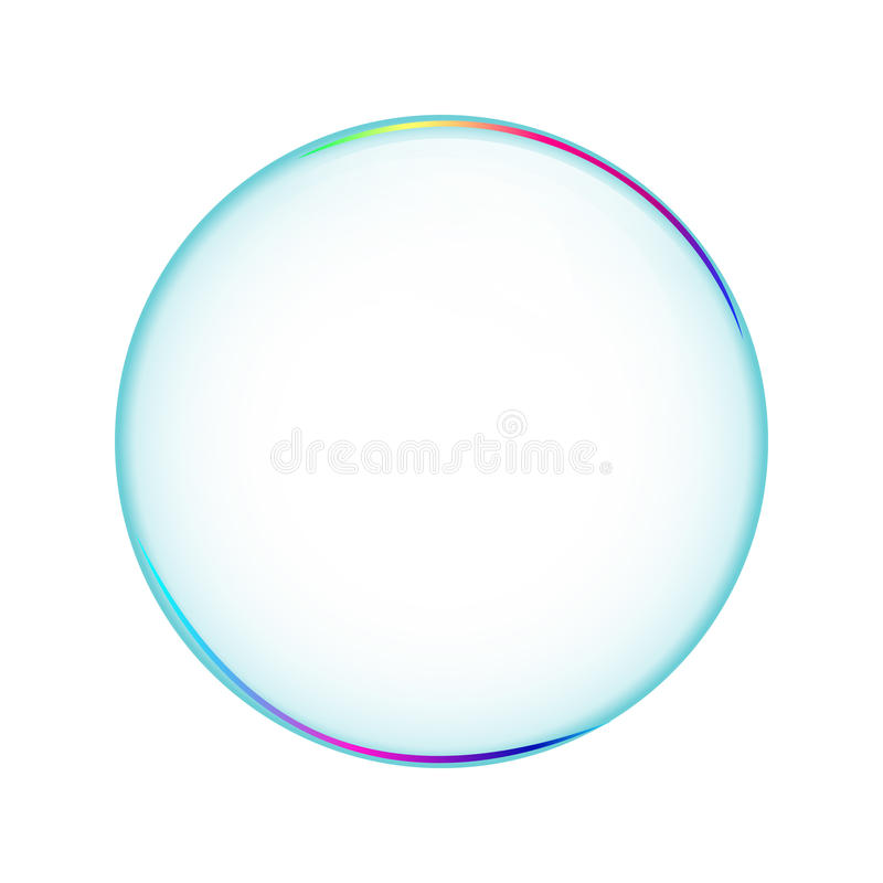 Bubble transparent, isolated soapbubble in white. Background. Object stock illustration