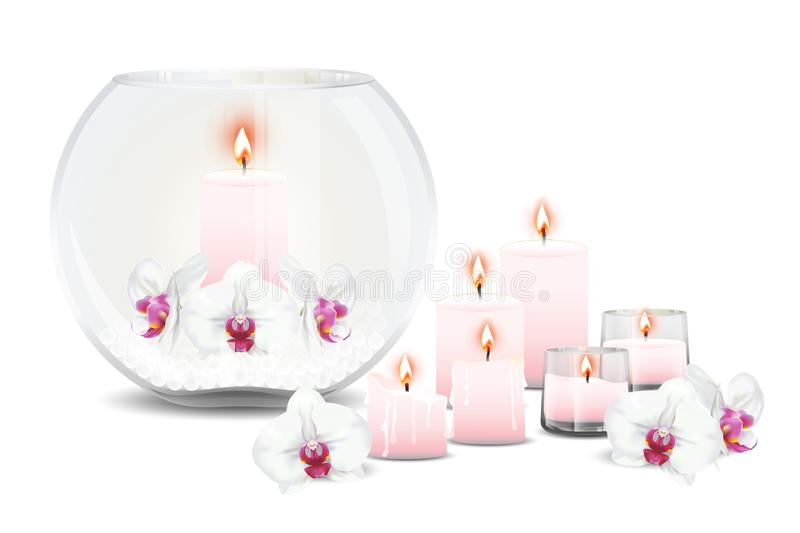 Bubble vase with orchids and candles. Bubble vase decorated with phalaenopsis orchids or moth orchid flowers, crystal balls and candles with flame. Vector royalty free illustration