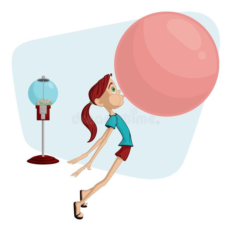 Bubblegum女孩 向量例证