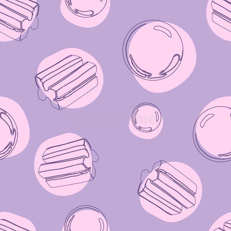 Bubblegum无缝的样式有爆炸甜糖果背景 皇族释放例证