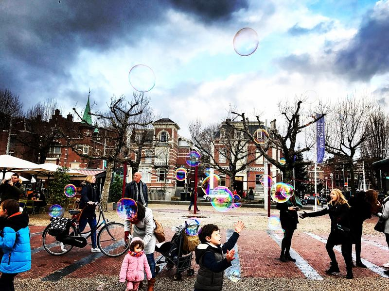 Bubbles in Amsterdam stock images