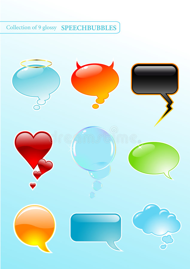bubbles anförande royaltyfri illustrationer