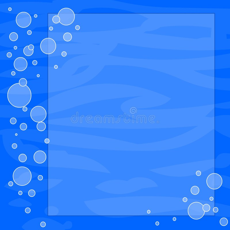 Bubbles background frame. Banner in water with bubbles stock illustration