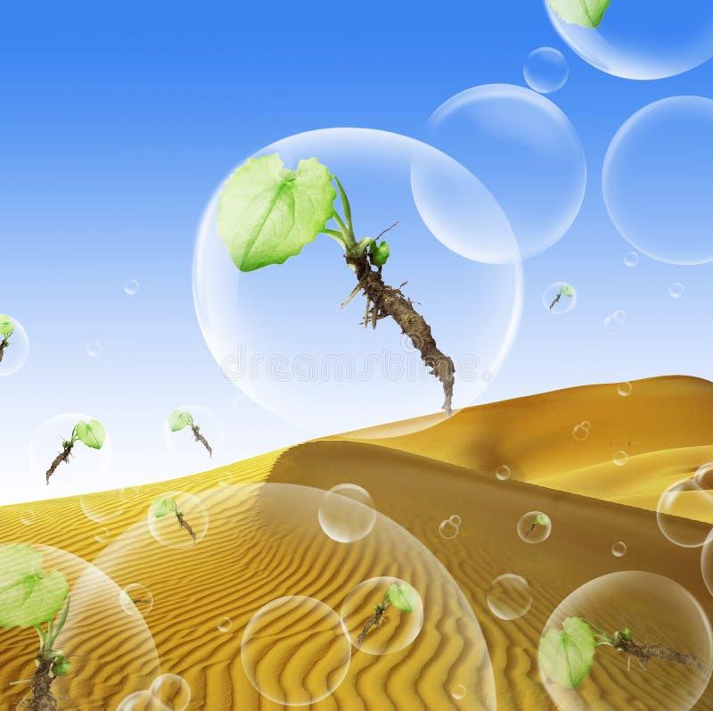 bubbles begreppet våra säkra planetväxter royaltyfri illustrationer