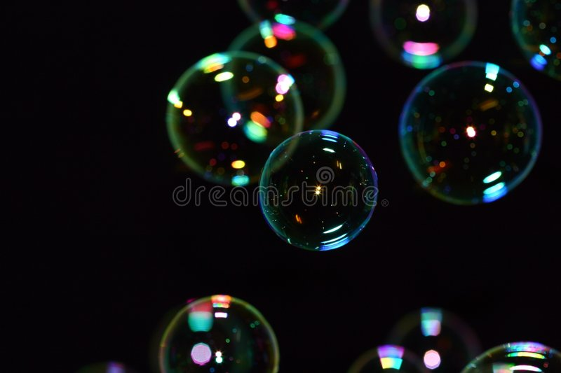 Bubbles on Black stock image